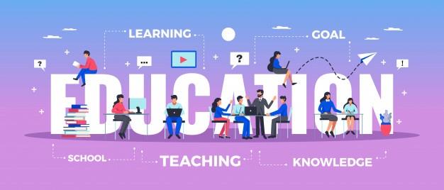 education-horizontal-typography-banner-set-with-learning-knowledge-symbols-flat-illustration_1284-29493